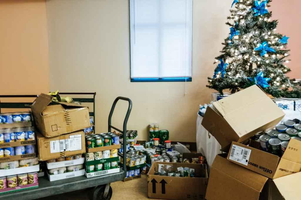 Wesleyan canned goods at tree