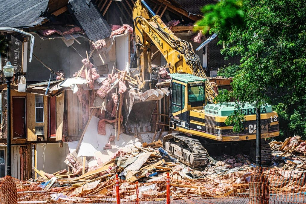 The building that sits furthest from Camden Avenue is the first to be demolished.