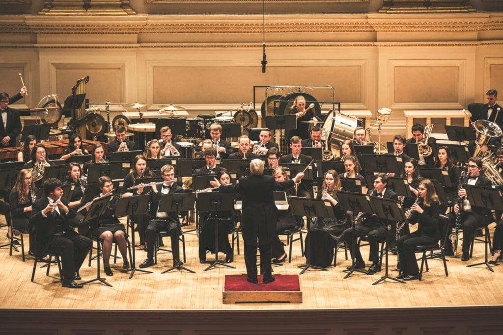 WVU Wind Symphony performs on stage (WVU Photo/College of Creative Arts)