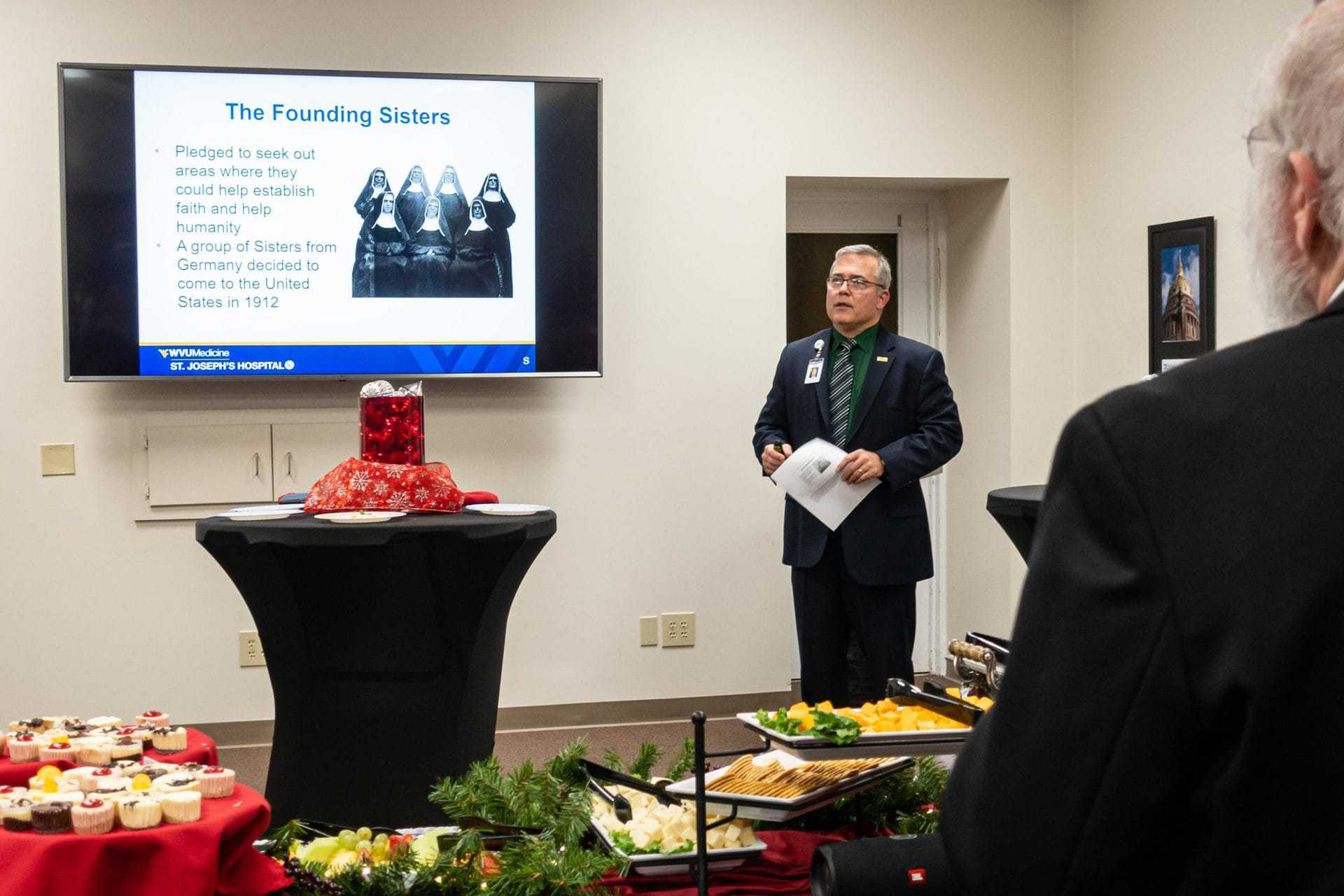 St. Joseph's Hospital administrator Skip Gjolberg announces the hospital foundation's 2019-2020 fundraising campaign -- Every Heartbeat Matters -- at an event Thursday evening.