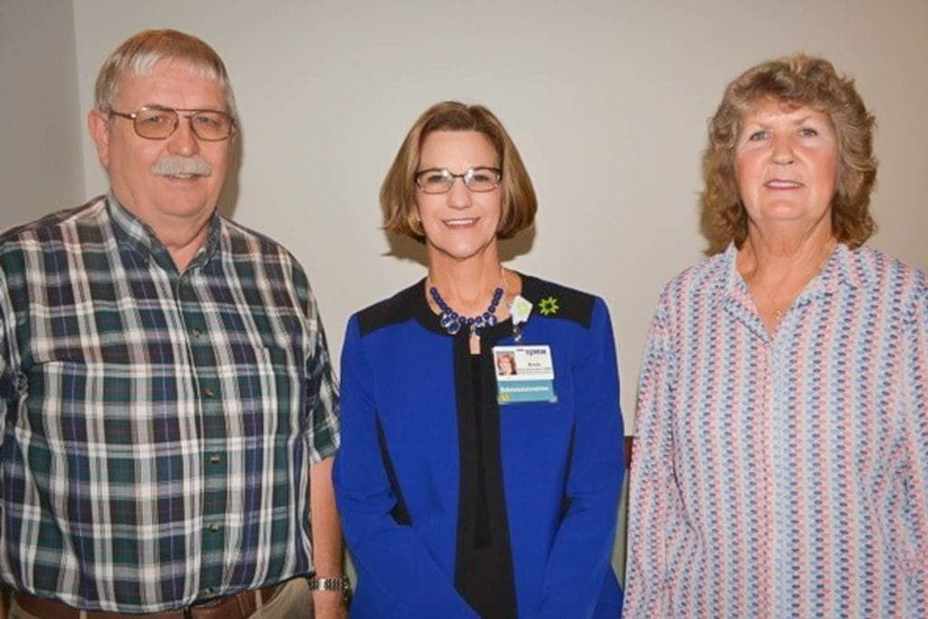 Pictured are retiring physician Dr. Ben Orvik, Mon Health Stonewall Jackson Memorial Hospital CEO Avah Stalnaker, and Jo Orvik, RN during an retirement reception for the long-time physician.