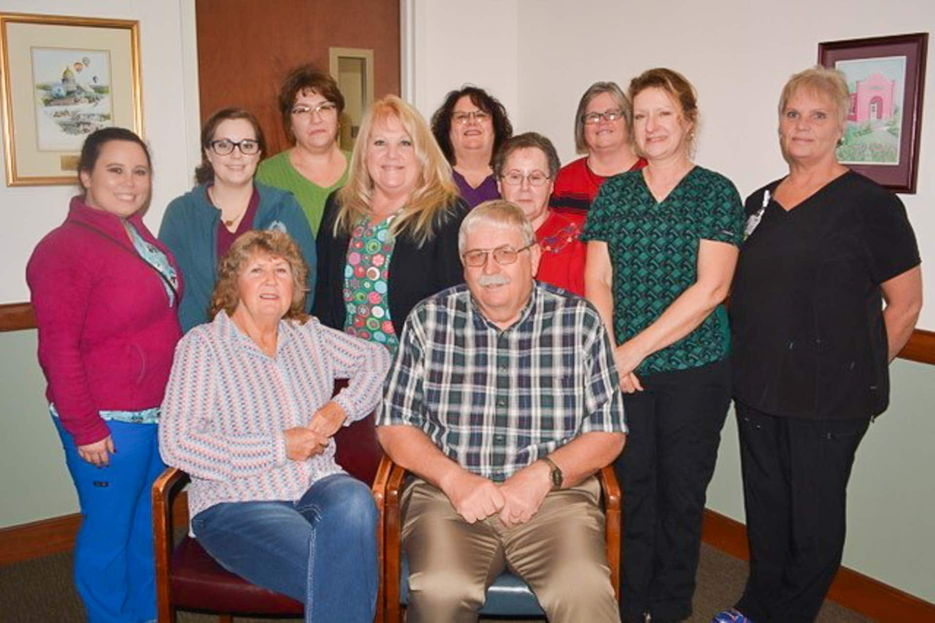 Pictured above are current and former staff members of Dr. Orvik's medical practice at Garton Plaza. Seated are Jo and Ben Orvik, standing left to right are: Sophia Bennett, Cheyenne Butcher, Angie Harper, Rita Butcher, Pam Nicholson, Connie Harper and back row Debbie Casto, Debbie Tomaro, Carla Foster.