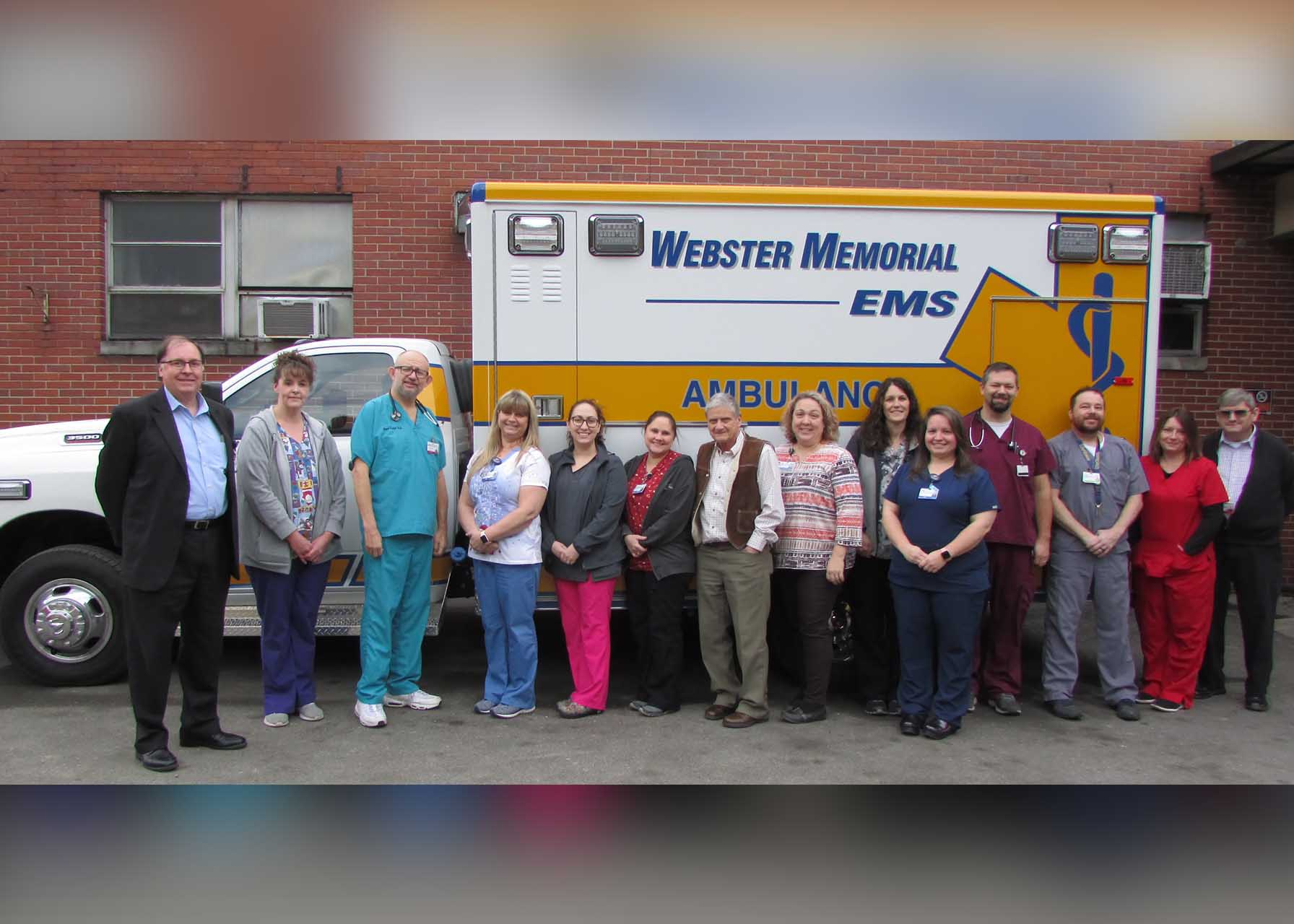 WCMH employees and medical staff happily pose with the hospital's new 2019 Dodge Ram EMS vehicle. The 4WD unit was recently added to the fleet and is well equipped to safely transport county residents, even in inclement weather conditions. Through the effort of a community fundraising campaign, the hospital hopes to add a second replacement EMS vehicle later in 2020.