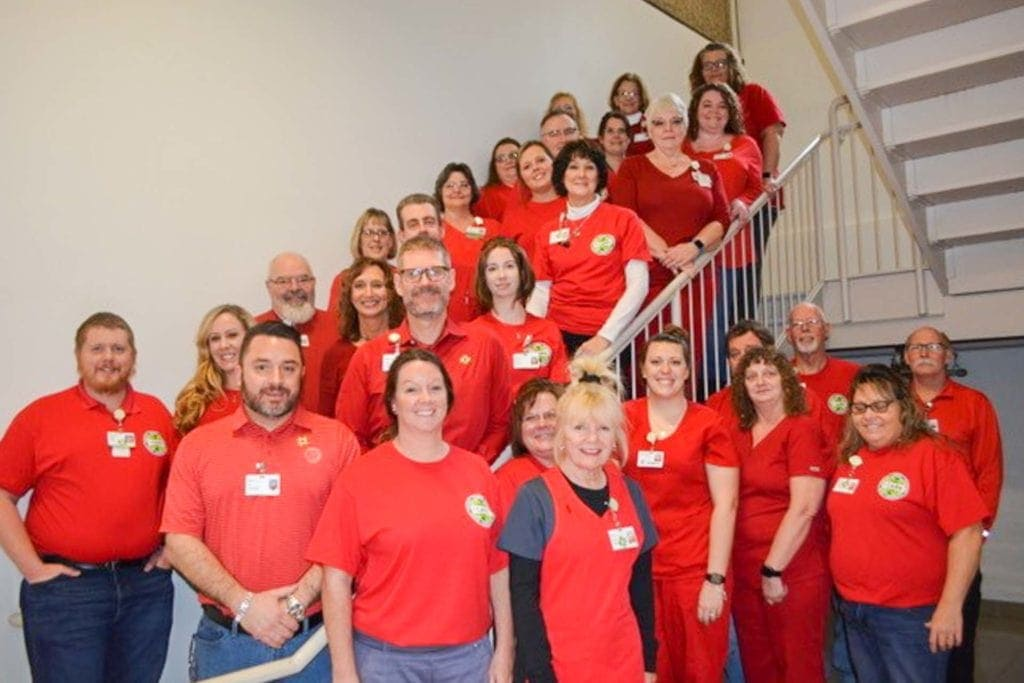 Members of the Mon Health Stonewall Jackson Memorial Hospital staff gathered on Friday, February 7, to raise public awareness of cardiac conditions and associated symptoms.