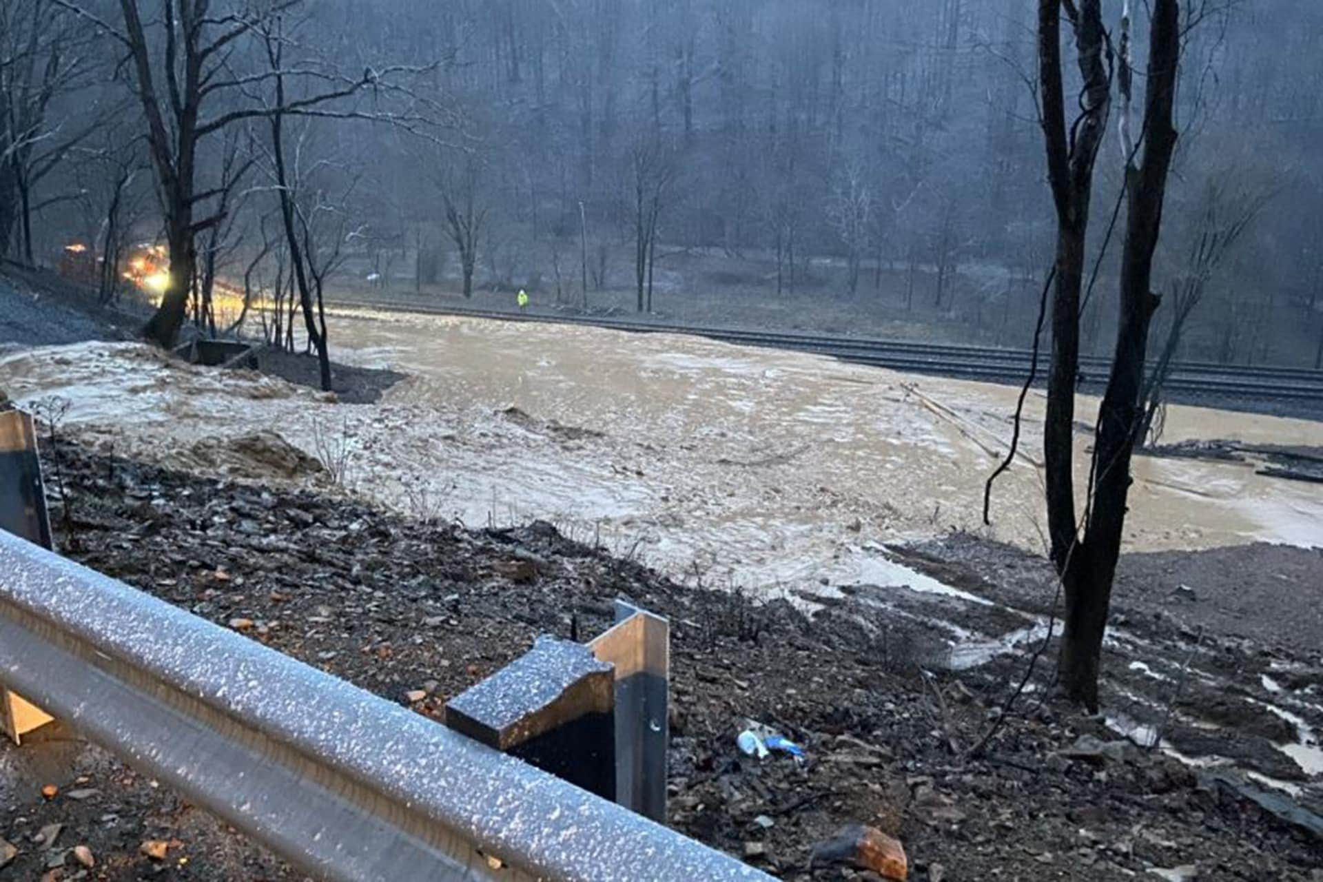 High water and mud slides causing road closures across southern West Virginia