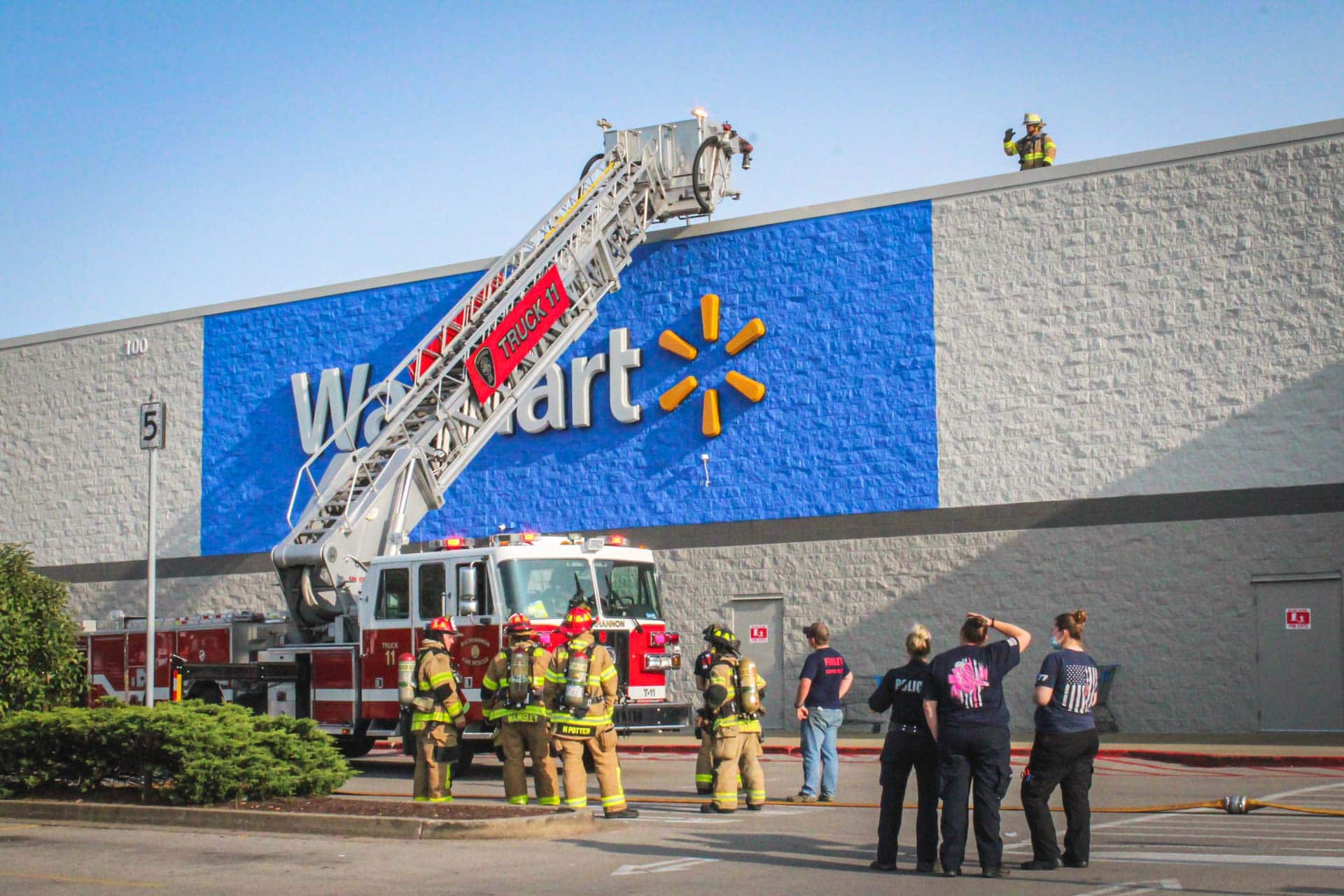 Walmart evacuated after HVAC unit on roof catches fire