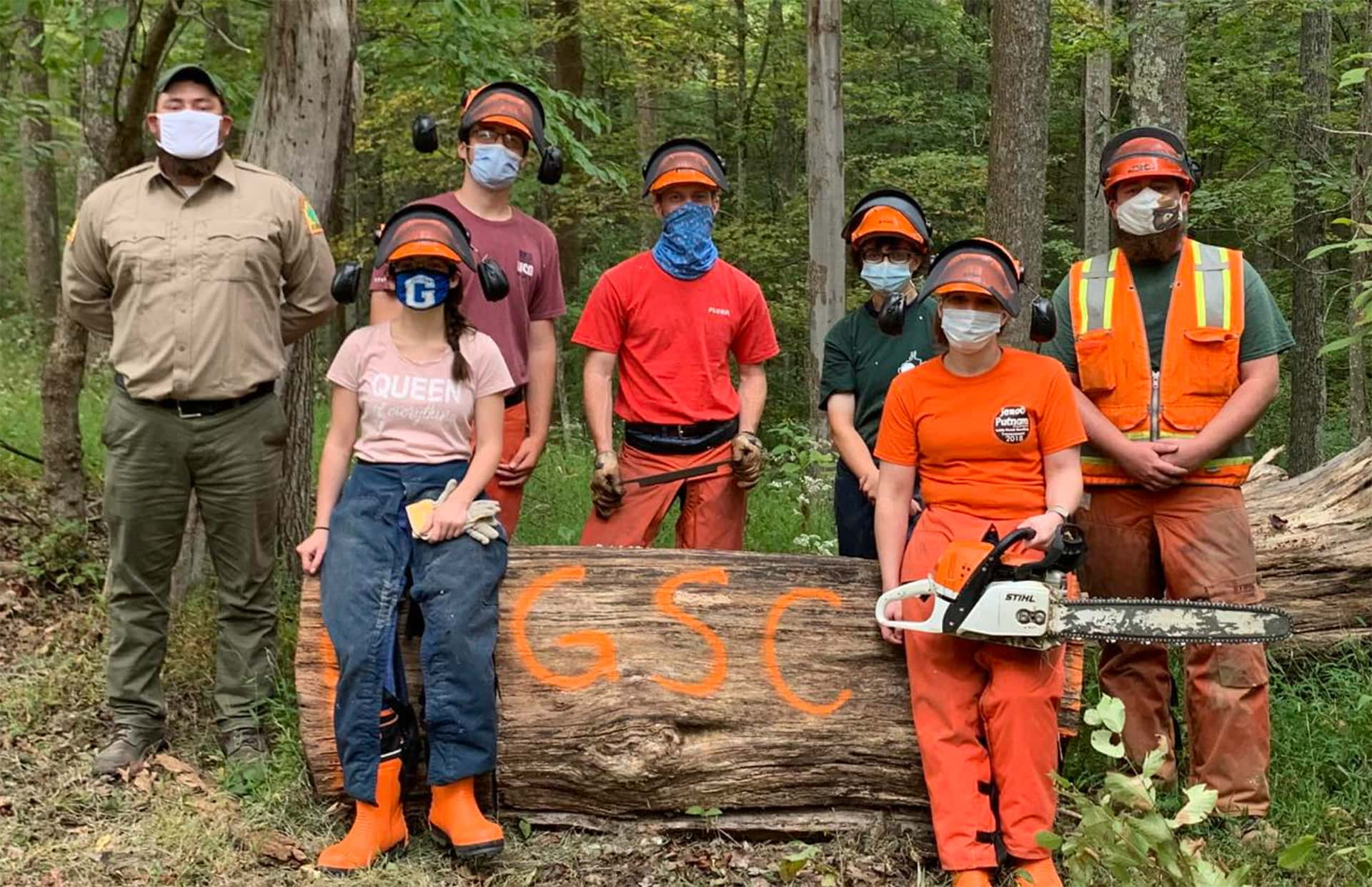 Glenville State College students take part in W.Va. Division of Forestry timber felling and chainsaw safety workshop