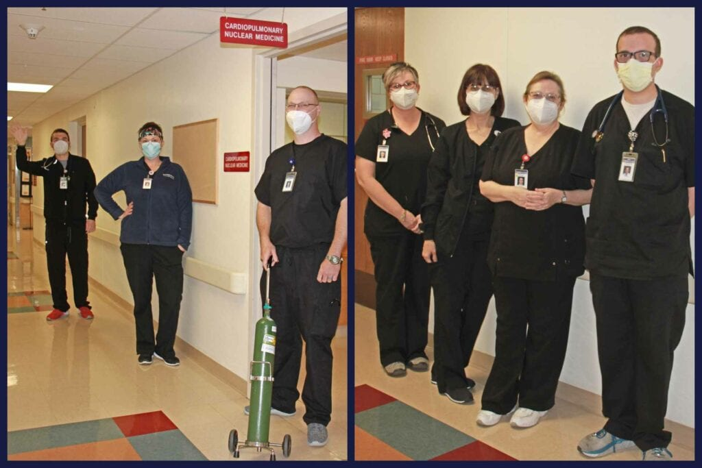 At left, from left to right: Registered Respiratory Therapists Jonathan Neal, Brandi Brown and Jim Kupfer. At right, from left to right: Registered Respiratory Therapists Stephanie Arden, Julie Neff, Kelly Ferren and John-Mark Ware.