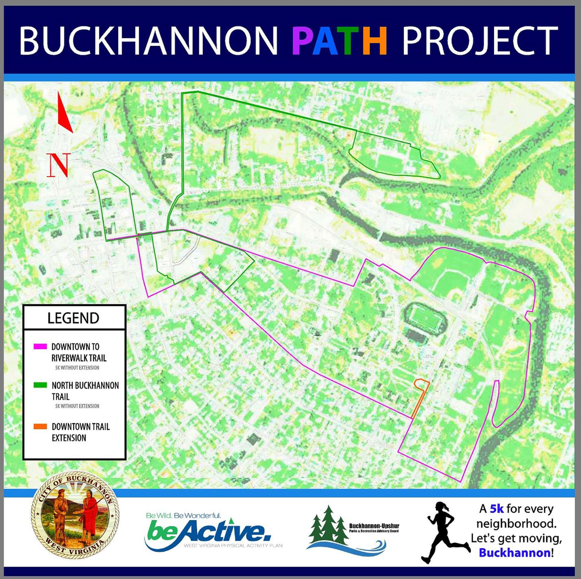 No Turkey Trot near you this year? Take your family for a Thanksgiving Day 5K, and every day, using the convenient Buckhannon 5K PATH Route with more to follow