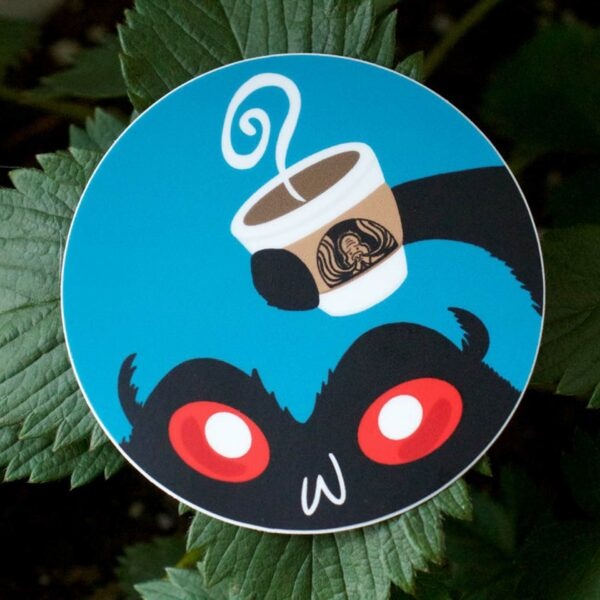 Mothman Sticker – Cryptids & Coffee Series