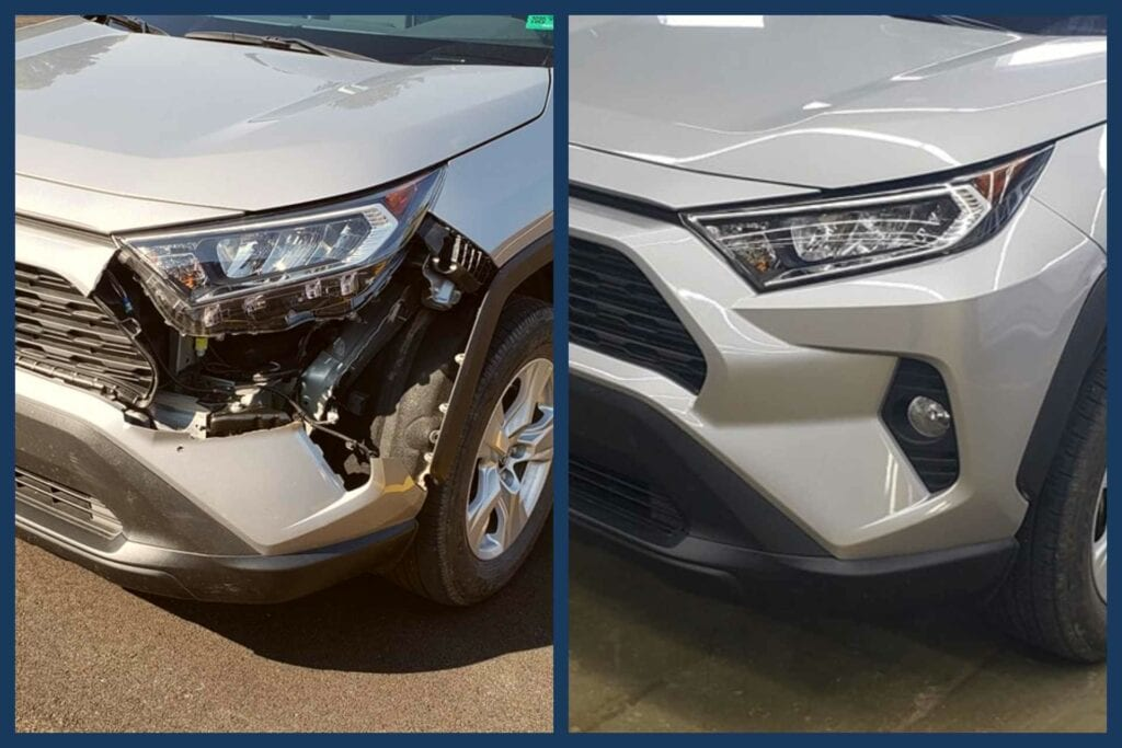 A real-world repair completed by students in the Auto Collision Repair program at Fred Eberle Technical Center.