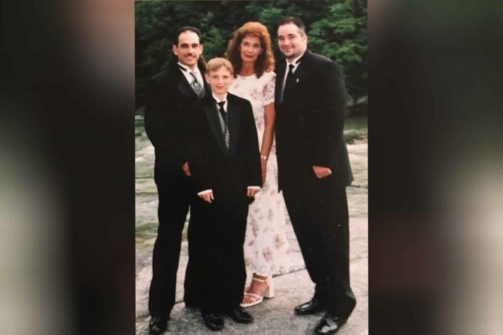 Tonkin with her three sons - left to right, the late Peter Rome, Jeb Tonkin and Anthony Rome.