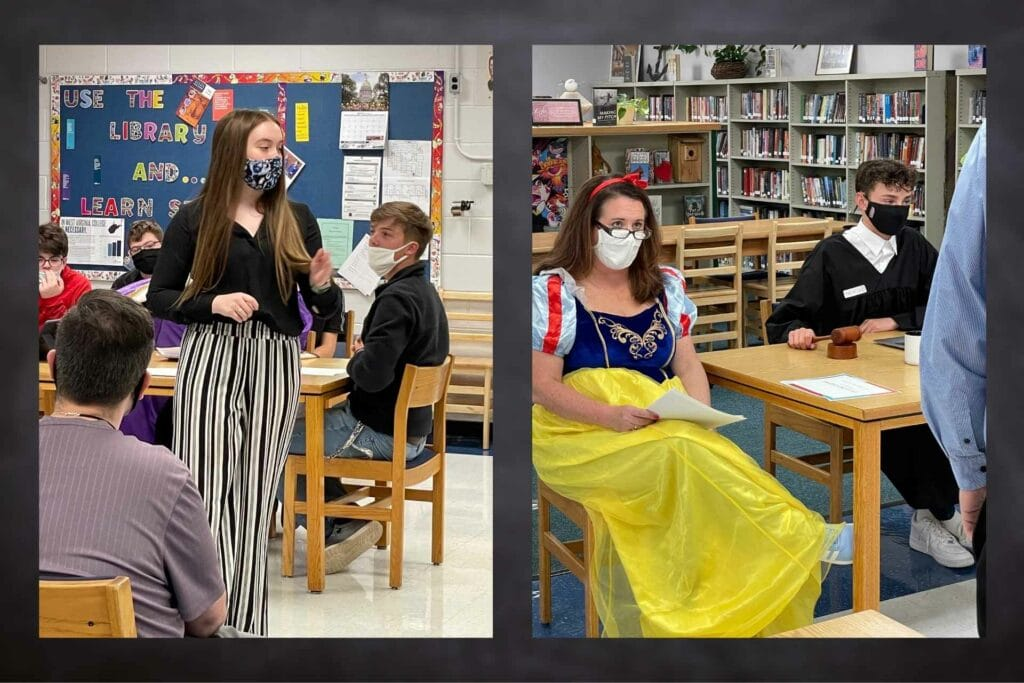 Bailiff played by Alisa Compton; Snow White played by Mindy Dawson; Queen played by Angie Westfall; Queen played by Angie Westfall and Attorney played by Katie Pearson; Snow White and Judge, played by Angie Westfall and Hank Phillips.