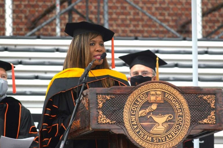 Dr. Patrice Harris delivers the commencement address at West Virginia Wesleyan College Sunday. Harris was the first Black woman to serve as president of the American Medical Association and received a Doctor of Humane Letters as an honorary degree. Nearly 200 students received their diplomas during the ceremony held outside on Cebe Ross Field.