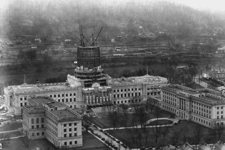 The West Virginia state capitol under construction.