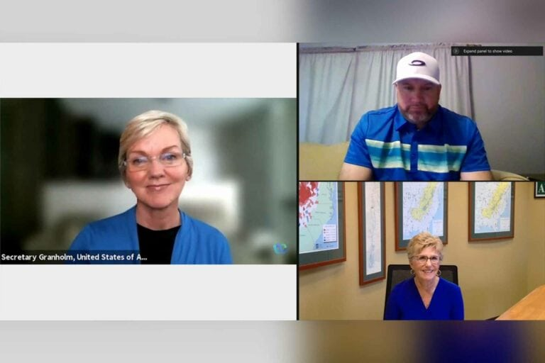 In this screenshot from Thursday, September 16, U.S. Department of Energy Secretary, Jennifer Granholm (left) is joined by Mayor of Matewan, West Virginia, Matt Moore (top right) and ARC Federal Co-Chair, Gayle Manchin (bottom right) during a virtual meeting of the Appalachian Regional Commission discussion on New Opportunities for Coal Communities.