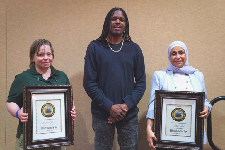 Left to right: Sandra Glover, SPOKES Student of the Year; Landau Eugene Murphy; and Afaf Akil, ESL Student of the Year. Additional student winners were unable to be in attendance.
