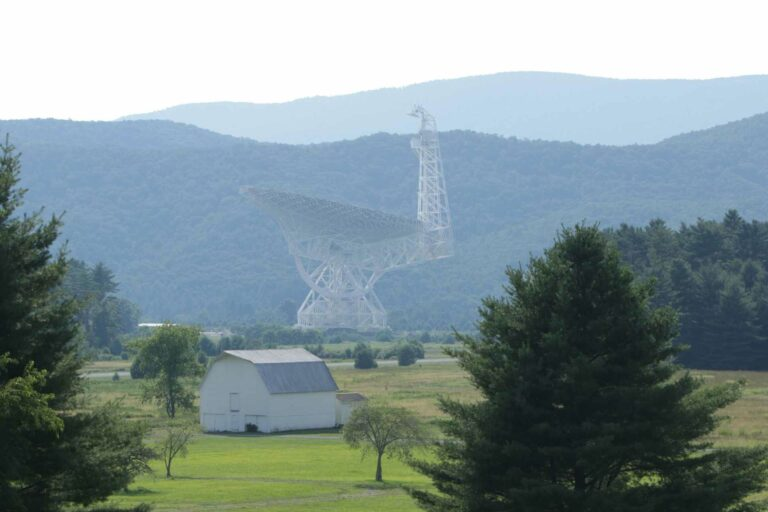 The Green Bank Telescope in Pocahontas County will serve as one of 11 telescopes around the world for a National Science Foundation-funded project to detect low-frequency gravitational waves. (WVU Photo/Scott Lituchy)