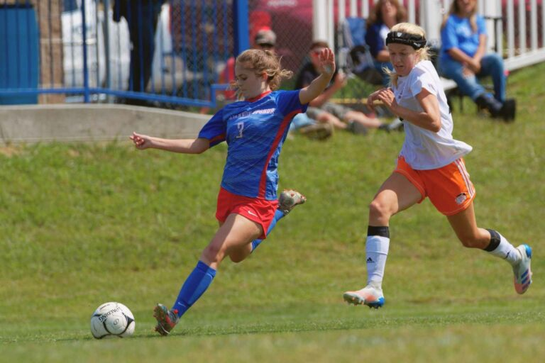 Ava Hollen lines up to strike the sixth and final goal of Saturday's 6-0 win over Martinsburg.